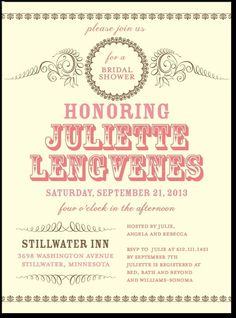 Loving these Bridal Shower Invitations!! They look like old Civil War-era flyers!!