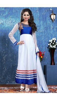 White Net Anarkali churidar Suit With Dupatta - DMV14737