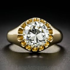 3.03 Carat European-Cut Diamond Gold Ring | From a unique collection of vintage solitaire rings at https://www.1stdibs.com/jewelry/rings/solitaire-rings/