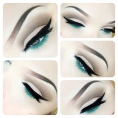 An everyday cut crease eye look with a pop of green liner on the waterline.