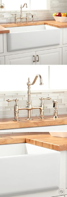 Along with a classic silver faucet, this Grigham Farmhouse Sink transforms any kitchen from ordinary to timeless. Complete the look with butcher block countertops and a mosaic glass tile backsplash when you remodel your home in the new year. Butcher Block Countertops Kitchen, Small Kitchen Cabinets, Kitchen Flooring, New Kitchen, Kitchen Tile, Antique White Cabinets, Fireclay Farmhouse Sink, Design Your Kitchen, Rustic Kitchen Decor