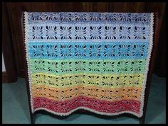 "Rainbow Spirit Baby Blanket #2/Lapghan, 35"" x 42"", $70."