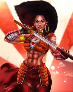 f Rogue Thief Leather Armor Sword urban City ArtStation Bushida's dojo by Dyana Wang med Sexy Black Art, Black Love Art, Black Girl Art, My Black Is Beautiful, Black Girl Magic, Art Girl, African American Art, African Art, African Tribes
