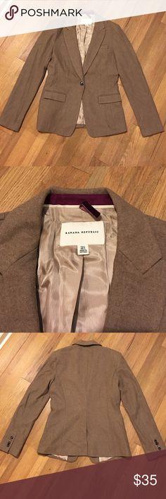 Banana Republic - Wool blazer - Size 10 Tall Banana Republic fitted wool blazer.  Size 10 Tall.  Light brown.  Gently used. Banana Republic Jackets & Coats Blazers