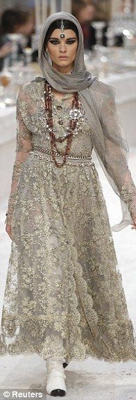 Fabrics featured lace embroidery and gold motifs, inspired by Indian textiles - Chanel