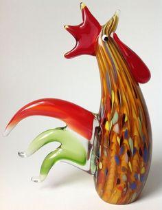 Murano Art Glass Ann Primrose Rooster Lattimo Aventurine Cristalleria Arte Label