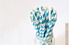 Paper Straw Striped  Teal x 25 by BacktoZero on Etsy