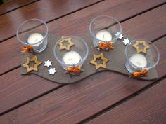 Adventní svícen - hvězdičkový Délka 33 cm, šířka 11 cm, doplněno skleničkami o výšce 6 cm + čajové svíčky. Možno použít klasické adventní svíčky. Chráněno proti poškrábání nábytku. Advent, Candle Holders, Pottery, Candles, Ceramica, Pottery Pots, Porta Velas, Candy, Candle Sticks