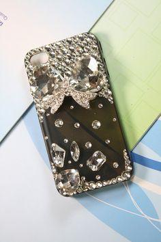 Handmade #iPhone case iPhone 4 case iPhone 4 cover by TopJewelry #diamonds #rhinestones