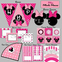 Instant Download Minnie Mouse Party Package Birthday - YOU PRINT non-editable PDF files Printable Party Pack