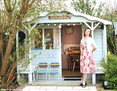 Treat: Belinda Brown, 43, from Epsom, Surrey, turned the ramshackle shed at the bottom of their garden into a my duck egg blue 'girl's pad'