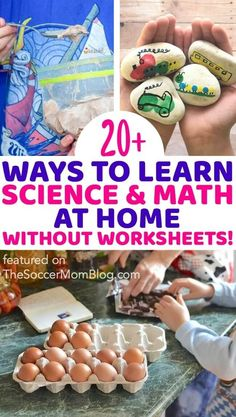 These are ideas on how to teach your kids science and math at home without worksheets or textbooks! This big collection of learning at home activities is both easy and fun! Try teaching your kids bout math and science while social distancing! Easy Science, Teaching Science, Science For Kids, Teaching Kids, Kids Math, Creative Activities For Kids, Educational Activities For Kids, Learning Activities, Kids Learning