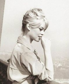 Brigitte Bardot at the top of the Eiffel Tower, Paris, 1950s