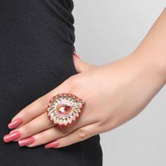 Buy Styonal Pink Teardrop Kundan Ring Online in India @ UrbanTouch.com