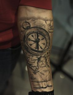 Realistic Grey Compass And Map Tattoos On Forearm