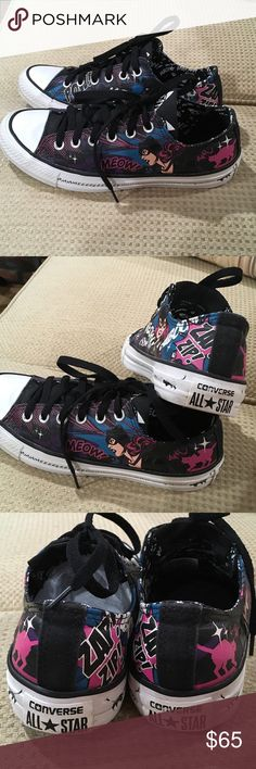 Converse Low top Catwoman sneakers women size 8 Converse Low top Catwoman sneakers women size 8.  These are super cool Cat Woman lace up sneakers.  Awesome graphics, with fun meow details on sides.  Worn a few times but still in excellent condition.  Perfect for a Catwoman & comic book fan. Converse Shoes Sneakers