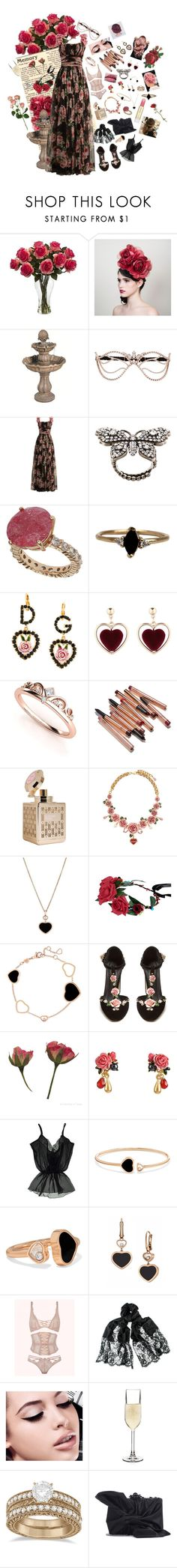 """rosy romance"" by astral-leech ❤ liked on Polyvore featuring Nearly Natural, Agent Provocateur, Dolce&Gabbana, Gucci, Topshop, LUMO, Chopard, Les Néréides, Roser and Myla"