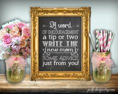 Baby Shower Advice Chalkboard Printable 8x10 PDF DIY Rustic Shabby Chic Woodland A Word Of Encouragement A Tip Or Two Write New Mom Advice
