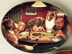 Dogs Playing Poker Plate  High Stakes  by BlackSquirrelHome
