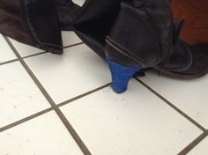 New blue glitter heel on old boot Glitter Heels, Blue Glitter, Old Boots, Ankle, Diy, Shoes, Fashion, Moda, Zapatos
