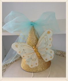 Gold Shabby Chic Butterfly Party Hat for Birthday Party Birthday Decoration