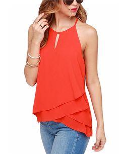 Women's Chiffon Sleeveless Falbala Irregular Hem Top Blouse - T-shirts - Women