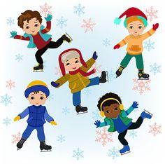 Winter Ice Skating Clipart Boys Bundle from Sandydigitalart on TeachersNotebook.com -  (32 pages)  - Winter Ice Skating Clipart Boys Bundle