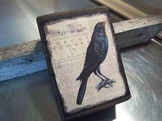Edgar Allan Poe art block handmade rustic bird art primitive crow home decor #Handmade #RusticPrimitive