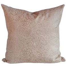 Hand Silk-Screened Rose Accent Pillow. $190.00