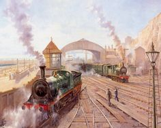 peintures alan fearnley - Page 3 South African Railways, Southern Railways, Train Art, Old Trains, Steam Engine, Steam Locomotive, Model Trains, Retro, Art Gallery