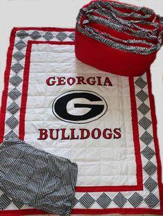 Georgia Bulldog Bedrooms   georgia quilted crib bedding set georgia bulldogs baby crib set cost ...