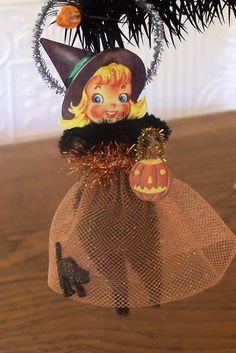 Little Witch Retro Style Halloween Decoration Ornament by TreePets