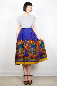 Vintage Midi Skirt Cobalt Blue Mustard Gold by ShopTwitchVintage #vintage #etsy #80s #1980s #baroque #skirt #midi #scarf #india