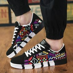 Buy Men's Spring Autumn Casual Flats Sneakers Multicolor Graphic Print Low Top Canvas Shoes at Wish - Shopping Made Fun Women's Shoes, Buy Nike Shoes, Blue Shoes, Shoes Sneakers, Suede Shoes, Pointe Shoes, Shoes Men, Converse Shoes, Sneakers Fashion