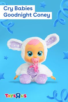 After a long day of play, snuggle up to Cry Babies Goodnight Coney! She's super soft, lights up with LED tears when her pacifier is removed and plays five soothing lullabies when it's time for night-night. She's absolutely adorable and oh-so-cuddly, too!