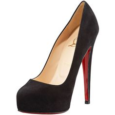 Christian Louboutin Miss Clichy Suede Platform Pump ($895) ❤ liked on Polyvore