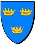 Blason théorique du roi Arthur : d'azur, à trois couronnes antiques d'or / en glazur, e deir hengurunenn en aour