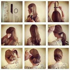 Make a chic and elegant chignon: Tie the hair but don't pull your hair entirely through the band. Cover the hair band with the remaining hair and use bobby pins to secure the chignon. Pretty Hairstyles, Easy Hairstyles, Girl Hairstyles, Stylish Hairstyles, Office Hairstyles, Hairstyles For Job Interview, Indian Hairstyles, Brunette Hairstyles, Celebrity Hairstyles