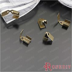 (24094)Jewelry Cord Ribbon End Cap Stopper Buckle Fasteners Clasps Crimp Beads Width:4MM Antique Bronze Iron 100PCS