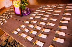 Escort cards: champagne cages made into chairs. So Eventful {Wedding & Event Coordination}