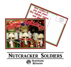 Postcard -  Christmas Nutcracker Soldiers Postcard for the Holidays   by #I_Love_Xmas at Zazzle! #Gravityx9 Designs ~  #christmasnutcrackers #nutcrackers