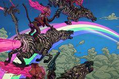 Hippie Fantasy Dark Skull Skull Zebra Monkey Fantasy Fabric Silk Poster Print Home Decoration B0303-71 $9.99