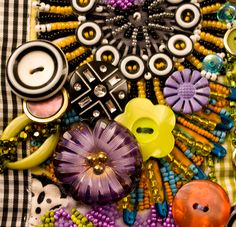 Glass buttons used to embellish an art quilt