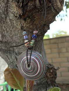 Saucer Pendant-African trade beads