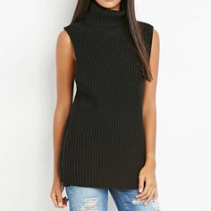 26d1a1c6e0e94 Women Sweater Sleeveless Zipper Sexy Turtle Neck Solid Black Camel Knitting  Sweater Fall Outfits