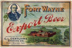 Rare 1900s Centlivre Fort Wayne Export Beer Bottle label