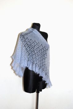 HANDMADE. READY TO SHIP  This lace triangular shawl is made of soft superkid mohair. Its made by Estonian traditional stitch pattern and…