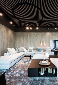 #FLEXFORM GROUNDPIECE sectional #sofa and #ottoman, #design Antonio Citterio