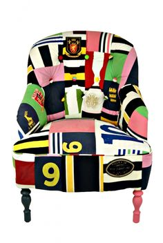 From GDUKStyle.com Reloved (now Upcycled) feature: Rugby Shirt Chair £1,200 from www.brightonpod.com.