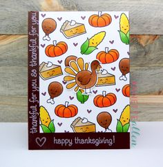 Lawn Fawn - Turkey Day, So Thankful, Happy Feast _ cheerful Thanksgiving card by Annette at My Clever Creations: Happy Thanksgiving...